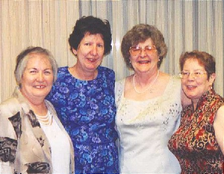 all the weird sisters at Gene's wedding, August, 2001